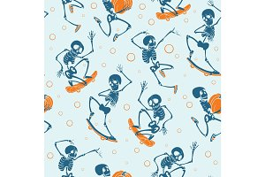 Vector blue and orange dancing and skateboarding skeletons Haloween repeat pattern background. Great for spooky fun party themed fabric, gifts, giftwrap.