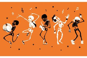 Vector orange dancing and musical skeletons Haloween set collection. Great for spooky fun party themed designs, gifts, packaging.