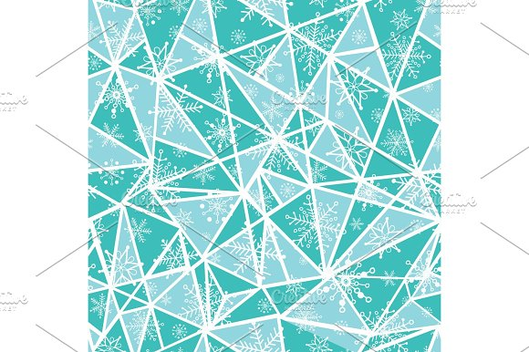 Vector abstract mint green christmass snowflakes on triangles repeat seamless pattern background. Can be used for fabric, wallpaper, stationery, packaging.