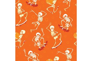Vector fun orange dancing and skateboarding skeletons Haloween repeat pattern background. Great for spooky fun party themed fabric, gifts, giftwrap.