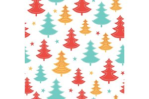 Vector green, yellow, red scattered christmas trees winter holiday seamless pattern. Great for fabric, wallpaper, packaging, giftwrap.