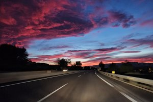 Road with red skies