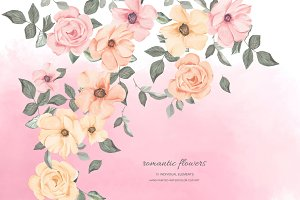 Watercolor Pink & Blush Floral Set