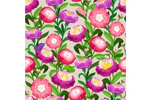 Flowers seamless pattern. Spring vector floral background for wedding invitation