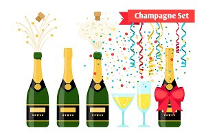 Champagnes party elements. Champagne bottle and glasses with sparkling wine