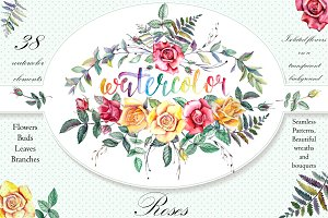 Watercolor Flowers Clipart - Roses
