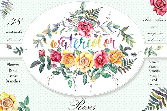 Watercolor Flowers Clipart -Graphicriver中文最全的素材分享平台