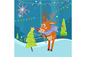 Deer in Scarf Decorating Christmas Tree at Snow