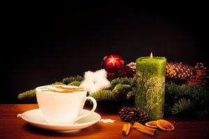 Christmas Still Life With Cup Of Coffee