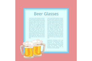 Beer Traditional Glasses with White Foam Bubbles