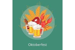 Oktoberfest Vector Illustration Food and Drinks