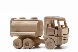 Wooden car with cistern.