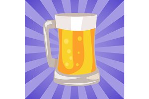 Mug of Light Beer Vector Illustration Isolated