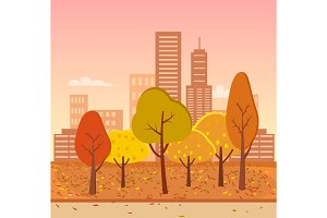 Autumn Park Represented on Vector Illustration