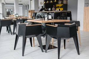 Chairs and tables in the cafe