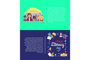 Happy Literacy Day Poster Vector Illustration