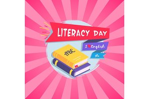 Literacy Day Bright Postcard Vector Illustration