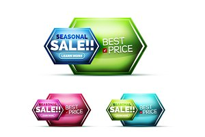 Glossy realistic glass effect, internet shopping sale icons