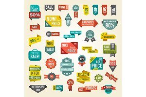 Collection of Colorful Sale Labels with Text
