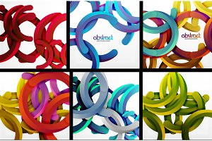 3d circles and rings on white background set