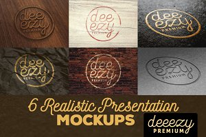 6 Realistic Logo or Text Mock-ups