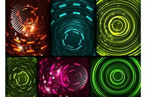 Set of circles technology backgrounds