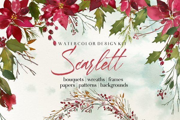 Scarlett Christmas Watercolor Set