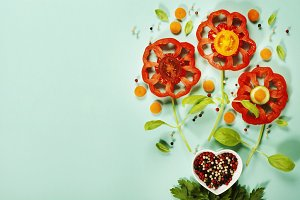 flowers made of vegetables