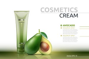 Vector avocado cream mockup