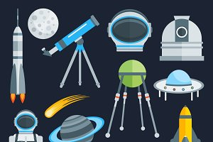 Space Decorative Flat Icons Set