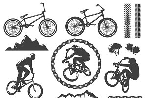 BMX Decorative Graphic Icons Set