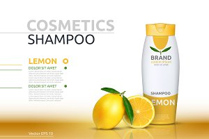 Vector yellow lemon shampoo mockup