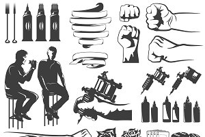 Tattoo Black White Icons Set