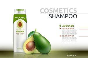 Vector avocado shampoo mockup