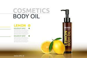Vector lemon body oil mockup