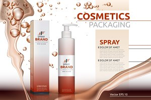 Vector natural spray mockup package