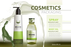 Vector green body oil package mockup
