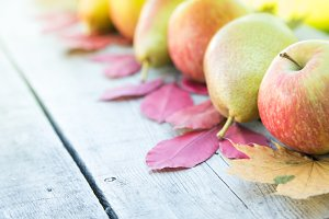 apples, pears and autumn leaves