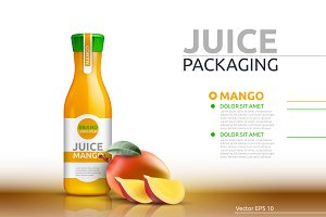Vector mango juice package mockup