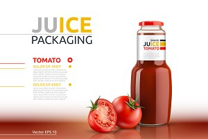 Vector tomato juice mockup package
