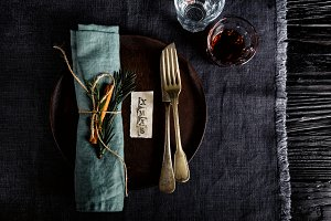 Wooden plate with cutlery holiday