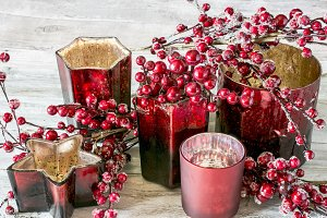 Christmas candles and berries