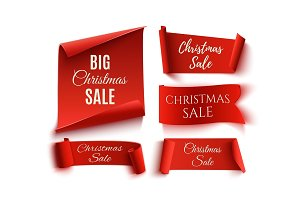 Set of five red Christmas Sale realistic paper banners.
