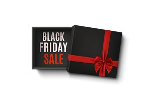Black Friday sale design. Opened empty gift box