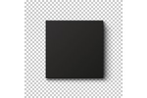 Black box isolated on transparent background.