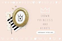 Hand drawn heart, crown, princess