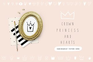 Hand drawn heart, crown, princess