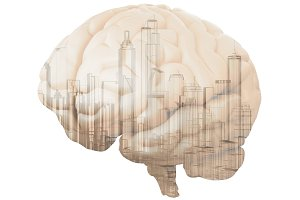 city in brain isolated on white
