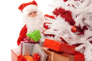 Santa Claus With Christmas Tree, Gifts