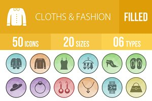 50 Clothes & Fashion Low Poly Icons